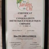 certificat Diététique chinoise
